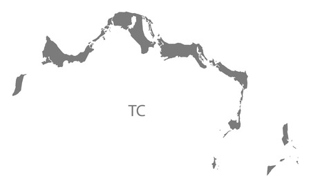 the turks: Turks and Caicos Islands map in gray Illustration