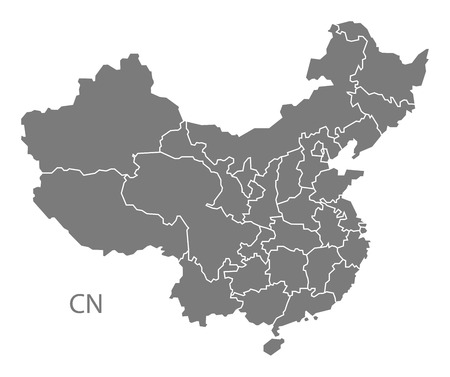 regions: China with regions map gray