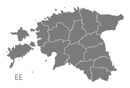 counties: Estonia with counties gray