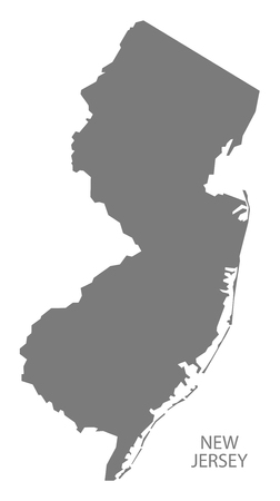jersey city: New Jersey USA Map in grey Illustration