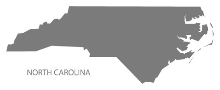 North Carolina USA Map in grey Ilustração