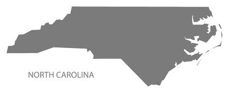 North Carolina USA Map in grey Illustration