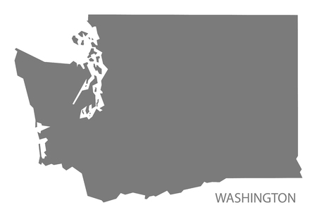 Washington USA Map in grey