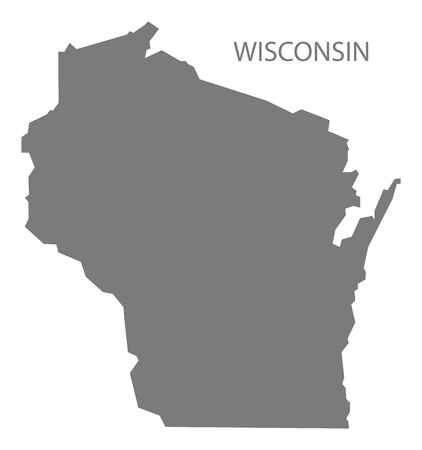 Wisconsin USA Map in grey
