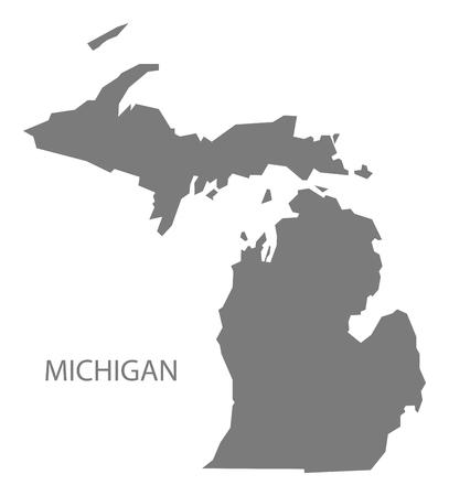 Michigan USA Map in grey
