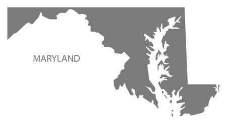 Maryland USA Kaart in de grijze Stock Illustratie