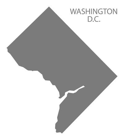 Washington DC USA Map in grey Illustration