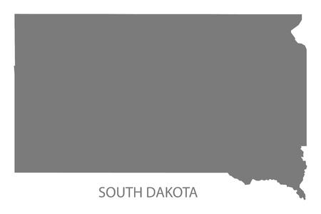 Dakota du Sud États-Unis carte en gris Banque d'images - 60709973