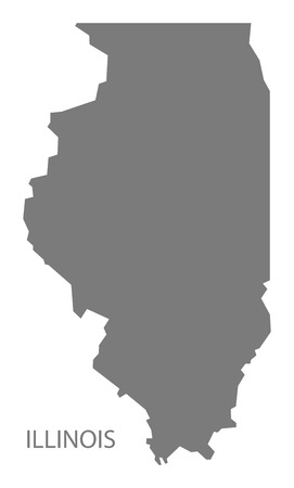 Illinois USA Map in grey Illusztráció