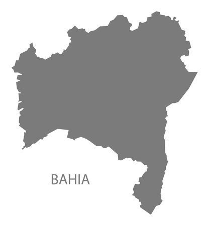 gray: Bahia Brazil map gray