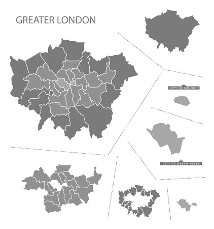 greater: Grey county map of England, Greater London