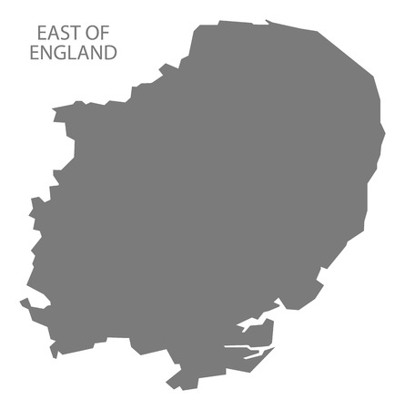 east: Grey county map of England, East of England Illustration