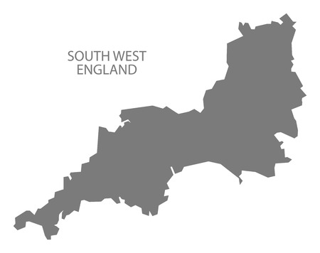 Grey county map of England, South West England