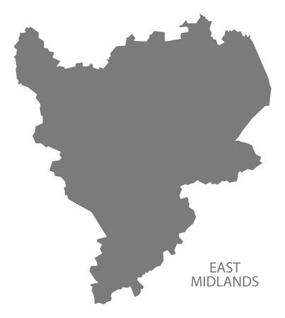 midlands: Grey county map of England, East Midlands Illustration