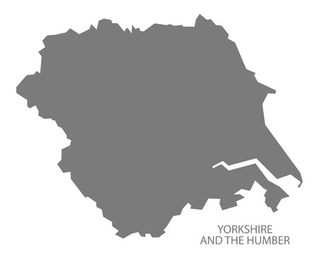 yorkshire and humber: Grey county map of England, Yorkshire and the Humber