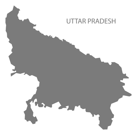 uttar pradesh: Uttar Pradesh India map gray