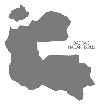 haveli: Dadra and Nagar Haveli India map gray Illustration