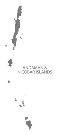 Andaman and Nicobar Islands India map gray