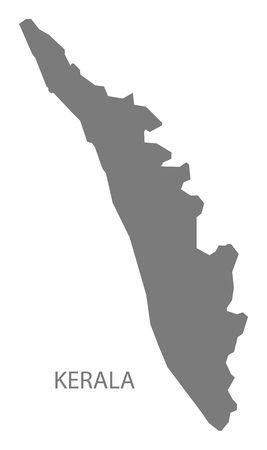 gray: Kerala India map gray Illustration