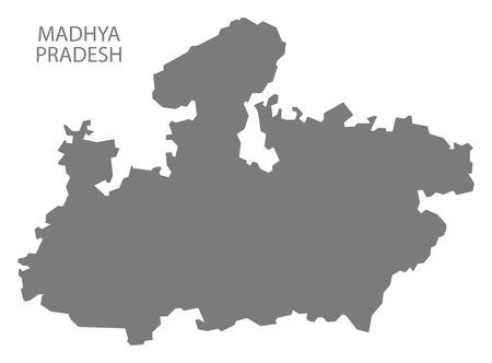 madhya: Madhya Pradesh India map gray