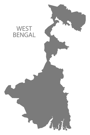 bengal: West Bengal India map gray Illustration