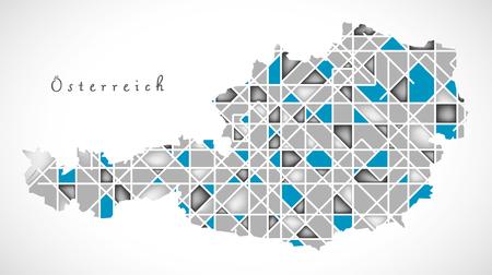 austria map: Austria Map crystal style artwork