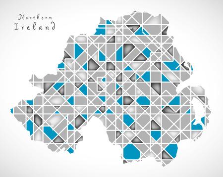 ireland cities: Northern Ireland Map crystal style artwork