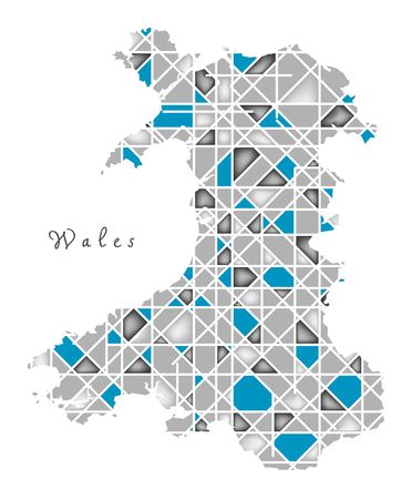 wales: Wales Map crystal style artwork