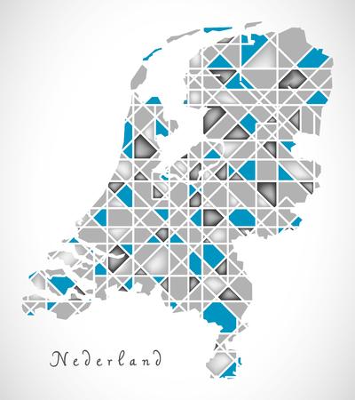 netherlands map: Netherlands Map crystal style artwork