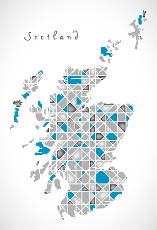 regions: Scotland Map crystal style artwork Illustration