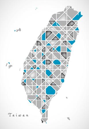 台湾地図クリスタル スタイル作品  イラスト・ベクター素材