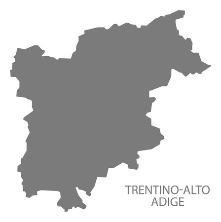 italia: Trentino-Alto Adige Italy Map in grey