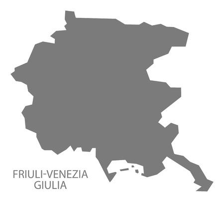 Friuli-Venezia Giulia Italia Map in grigio