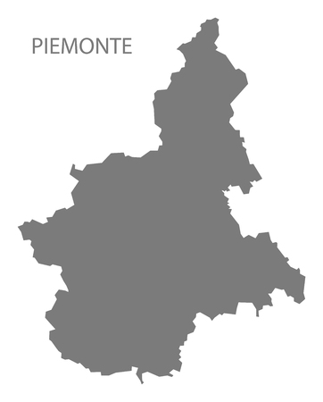 italia: Piemonte Italy Map in grey Illustration