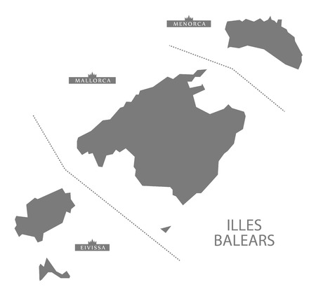 majorca: Illes Balears Spain Map in grey Illustration