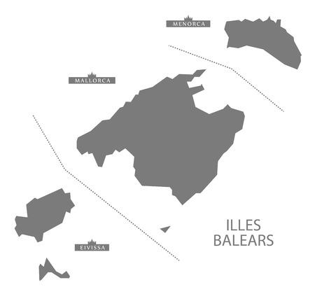 majorca: Illes Balears Spain Map in grey Illustration
