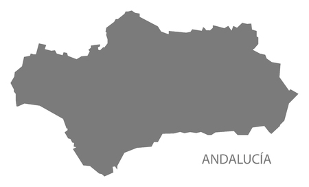 andalucia: Andalucia Spain Map in grey