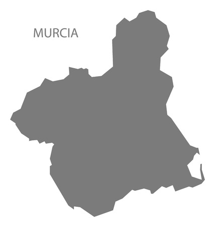 murcia: Murcia Spain Map in grey Illustration
