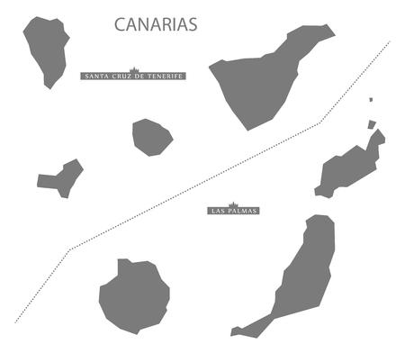 canarias: Canarias Spain Map in grey Illustration