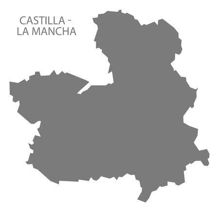 mancha: Castilla - La Mancha Spain Map in grey Illustration