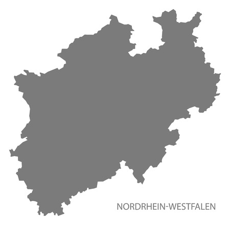 westfalen: Nordrhein-Westfalen Germany Map grey