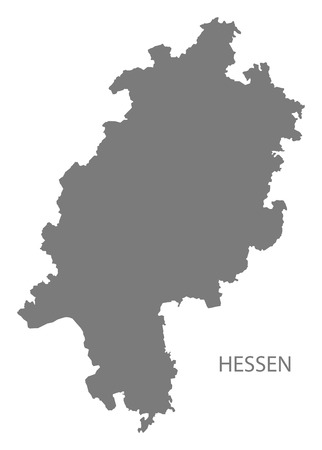 hessen: Hessen Germany Map grey Illustration