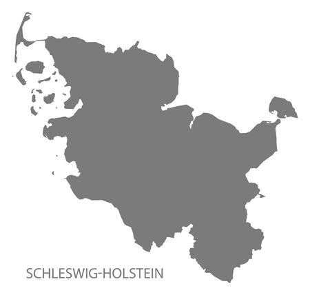 deutschland karte: Schleswig-Holstein Deutschland Karte grau Illustration
