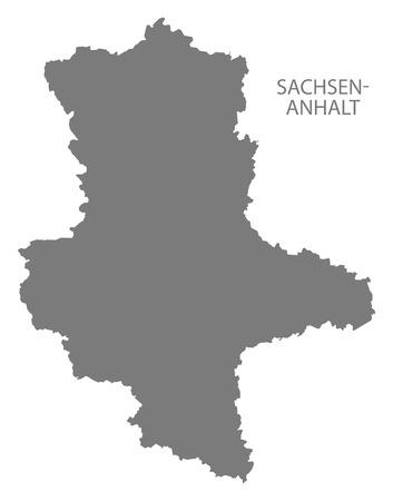 deutschland karte: Sachsen-Anhalt Germany Map grey