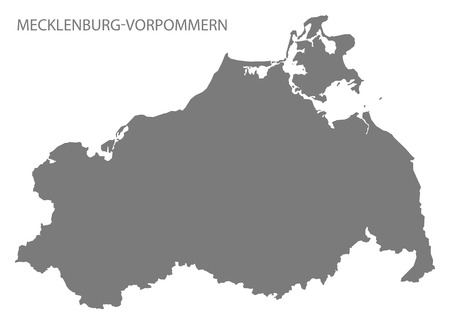 deutschland karte: Mecklenburg-Vorpommern Germany Map grey