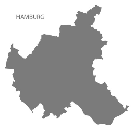 hamburg: Hamburg Germany Map grey Illustration