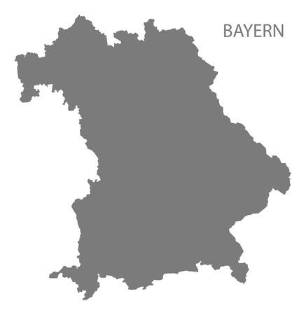 deutschland karte: Bayern Deutschland Karte grau Illustration