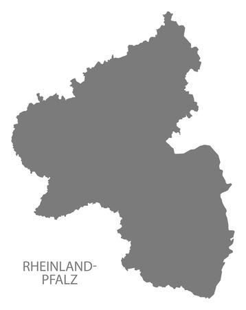 deutschland karte: Rheinland-Pfalz Germany Map grey Illustration