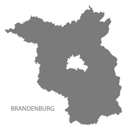 brandenburg: Brandenburg Germany Map grey Illustration