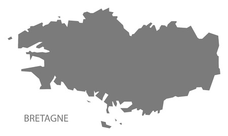 bretagne: Bretagne France Map grey